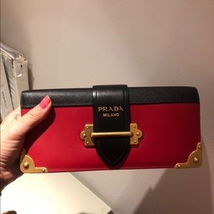 Prada black and red Cahier biocolor saffian